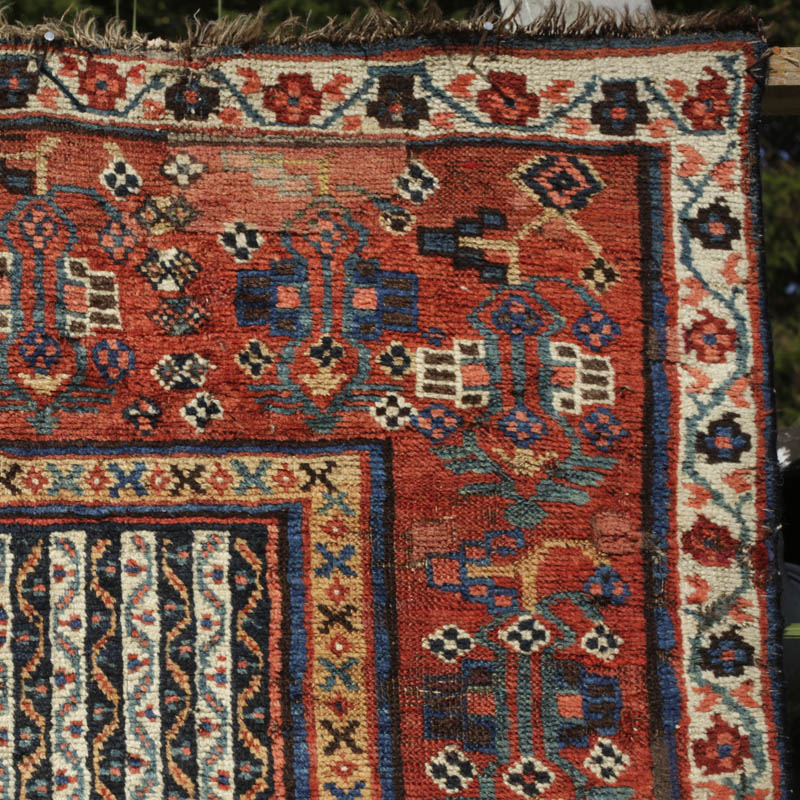 Antique Persian Khamseh Rug With Pomegranate Design On