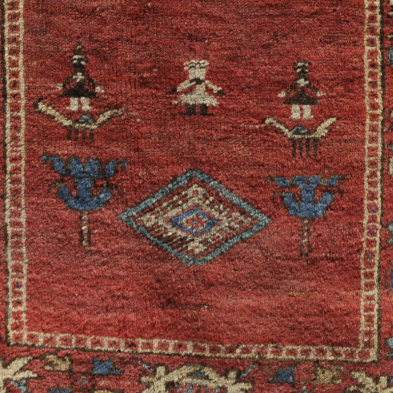 Kurdish Rug With Humans, Animals, Blossoms And Medallion